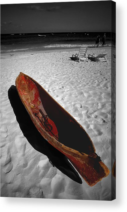 Photography Acrylic Print featuring the photograph Red Paddle Boat Playa Del Carmen by Tom Fant