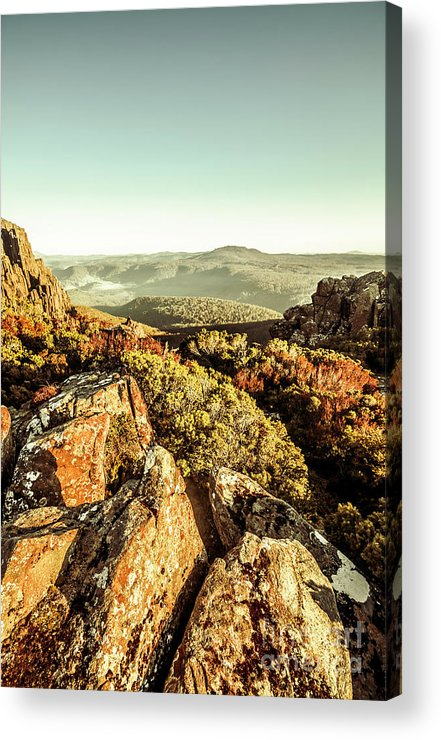 Rugged Acrylic Print featuring the photograph Rugged Mountaintops To Regional Valleys by Jorgo Photography - Wall Art Gallery