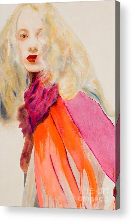Portrait Acrylic Print featuring the painting Sauge by Krzis-Lorent Frederique