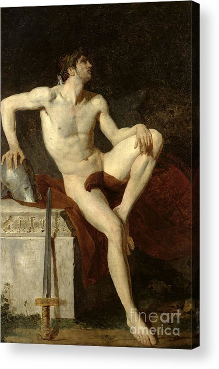 Seated Acrylic Print featuring the painting Seated Gladiator by Jean Germain Drouais