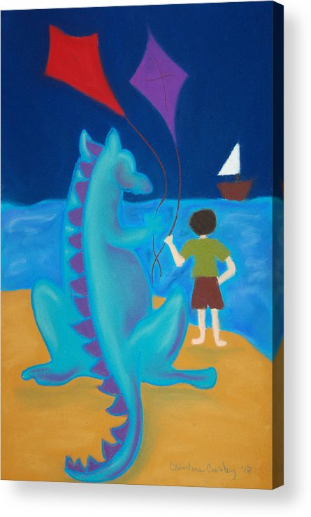 Dragon Acrylic Print featuring the pastel Sharlie With Kites by Christine Crosby