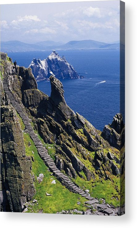 Coastal Acrylic Print featuring the photograph Stone Stairway, Skellig Michael by Gareth McCormack