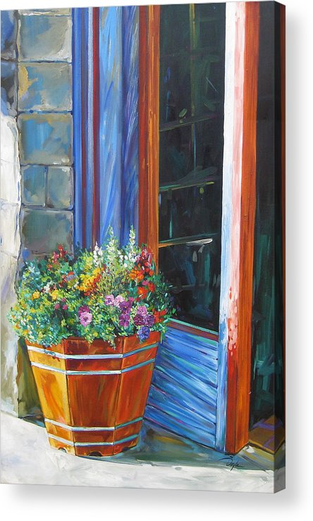 Pansy Acrylic Print featuring the painting Stopping At An Entryway by Karen Doyle