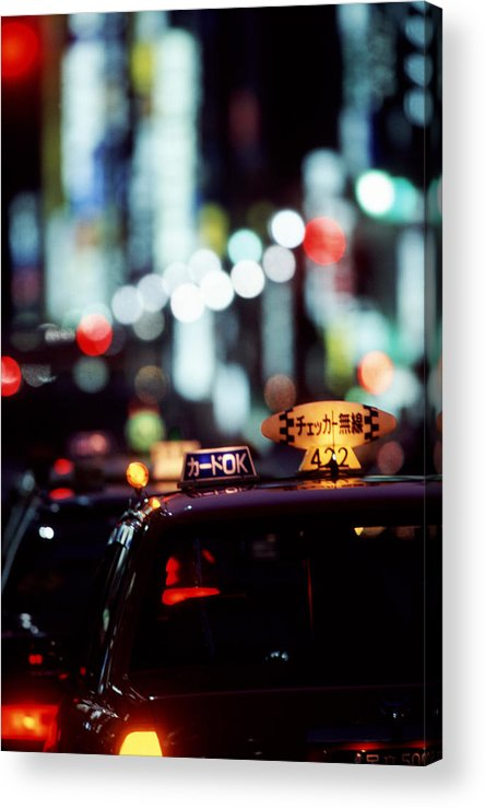 Taxi Acrylic Print featuring the photograph Taxis On The Ginza by Brad Rickerby