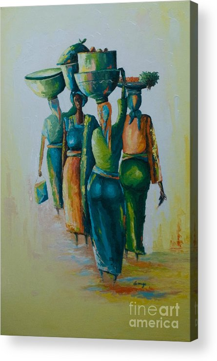 Acrylic Print featuring the painting the Arrival by Alfred Awonuga