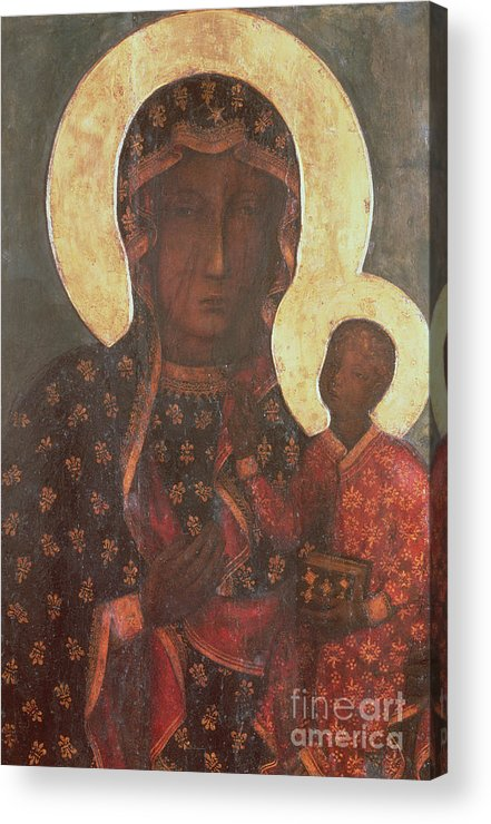 The Acrylic Print featuring the painting The Black Madonna Of Jasna Gora by Russian School