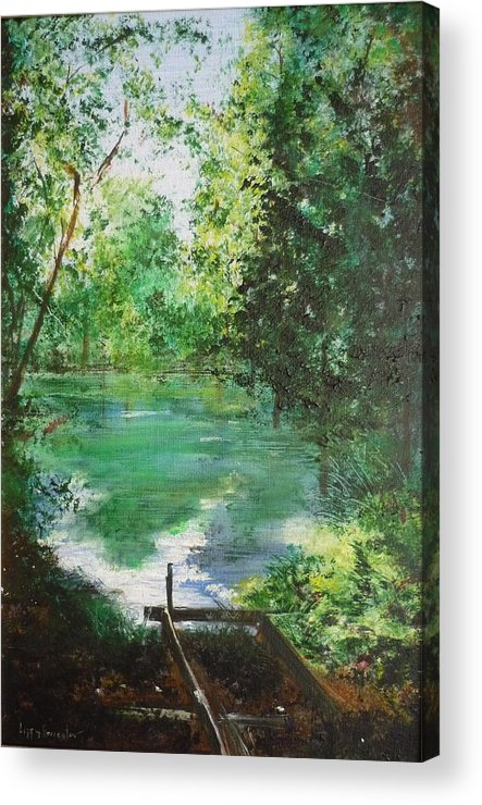 Lake Acrylic Print featuring the painting The Lake At Stansted Unfinished by Lizzy Forrester