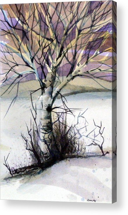 Birch Acrylic Print featuring the painting The Lone Tree by Mindy Newman