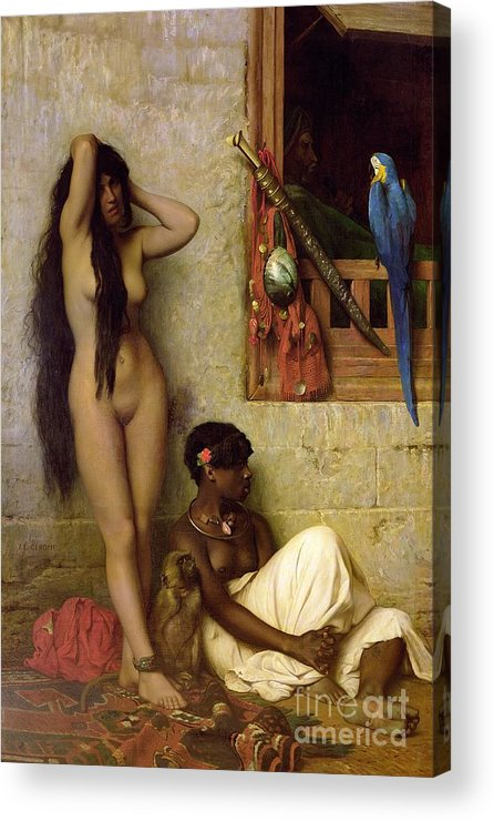 The Acrylic Print featuring the painting The Slave For Sale by Jean Leon Gerome