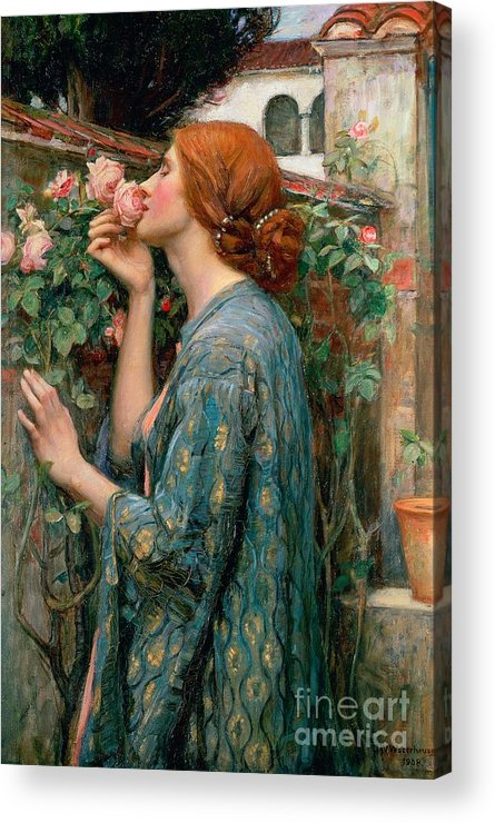 The Acrylic Print featuring the painting The Soul Of The Rose by John William Waterhouse