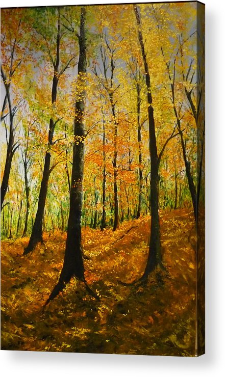 Fall Acrylic Print featuring the painting The Wood For The Trees by Lizzy Forrester