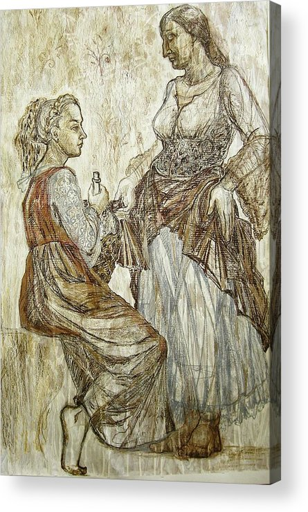 Fresco Acrylic Print featuring the drawing This Was by Kseniya Nelasova