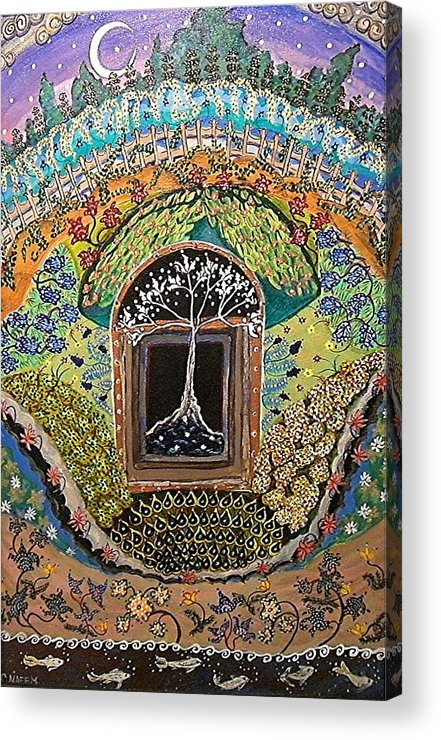 Tree Acrylic Print featuring the painting Tree-moon-fish by Caroline Urbania Naeem