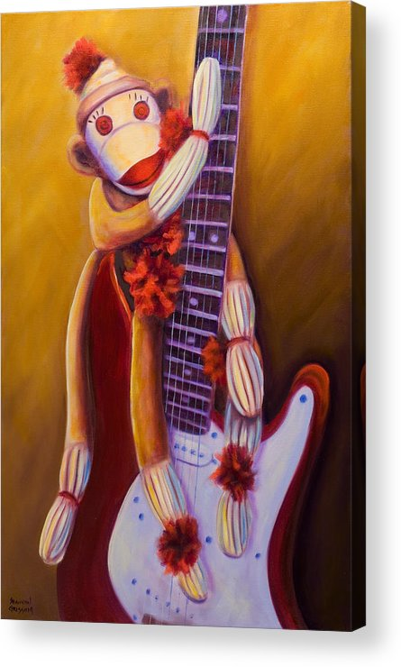 Monkey Acrylic Print featuring the painting Wanna Be A Rocker by Shannon Grissom