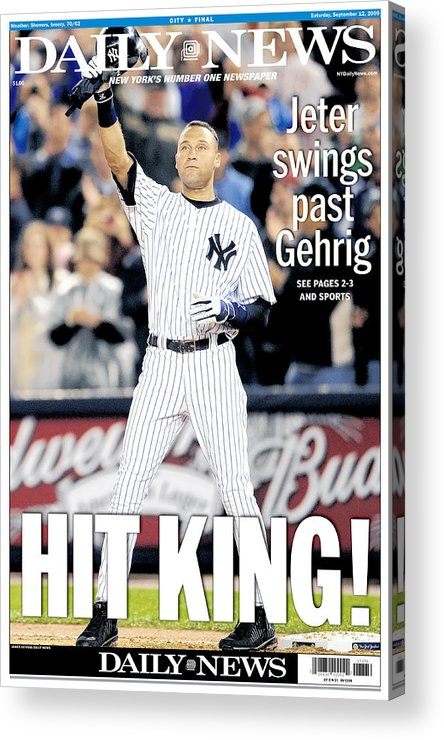 American League Baseball Acrylic Print featuring the photograph Daily News September 12, 2009, Hit by New York Daily News Archive