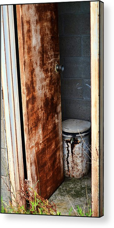 Outhouse Acrylic Print featuring the pyrography Dont Mind If I Do by Jeffrey Platt