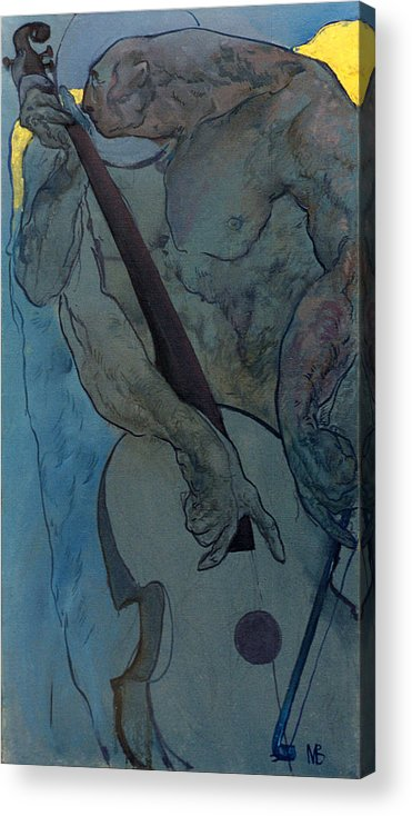 Nude Acrylic Print featuring the painting Jan 2 by Valeriy Mavlo