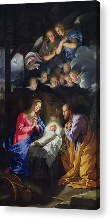 Jesus;infant Christ;virgin Mary;madonna;joseph;cherubim;seraphim;angels;angel;swaddling Clothes;praying;prayer;stable; Christ Acrylic Print featuring the painting Nativity by Philippe de Champaigne