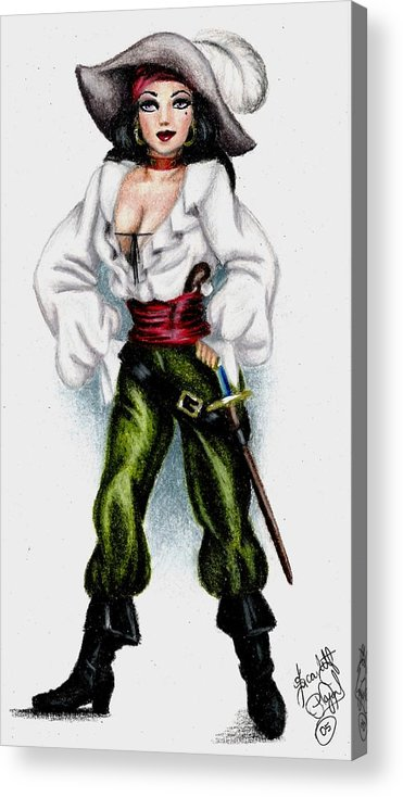 Pirate Acrylic Print featuring the drawing Pirate by Scarlett Royal