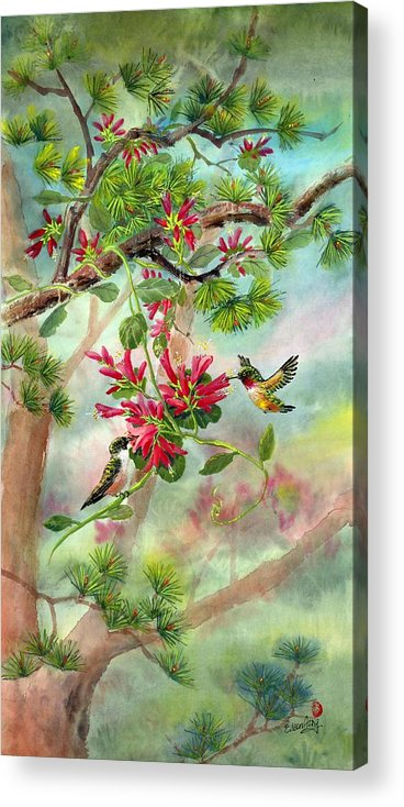 Hummingbirds Acrylic Print featuring the painting Sweet Journey by Eileen Fong