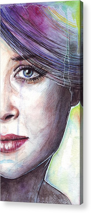 Watercolor Painting Acrylic Print featuring the painting Prismatic Visions by Olga Shvartsur
