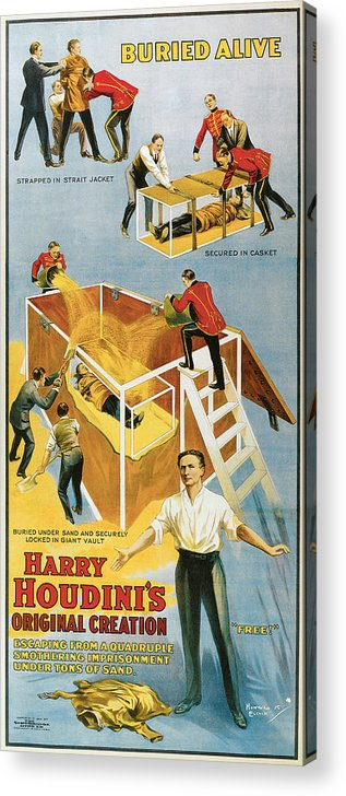 Harry Houdini Acrylic Print featuring the painting Harry Houdini Buried Alive by Unknown