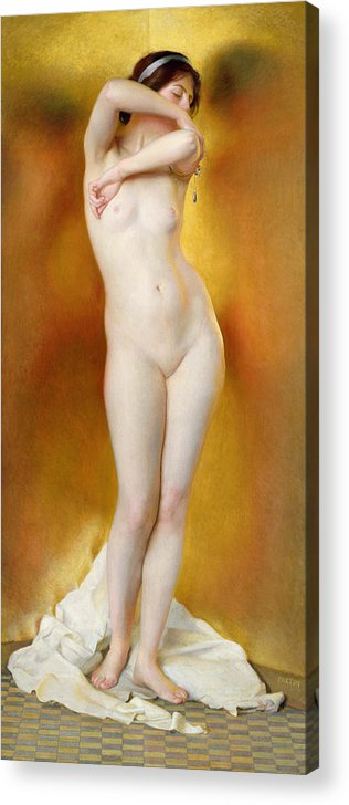 Female Acrylic Print featuring the painting Glow Of Gold Gleam Of Pearl by William McGregor Paxton