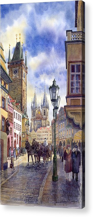 Watercolour Acrylic Print featuring the painting Prague Old Town Square 01 by Yuriy Shevchuk