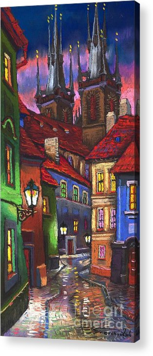 Pastel Acrylic Print featuring the painting Prague Old Street 01 by Yuriy Shevchuk