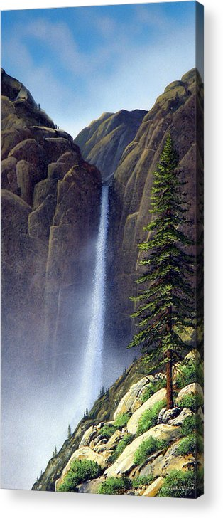 Wilderness Acrylic Print featuring the painting Waterfall by Frank Wilson