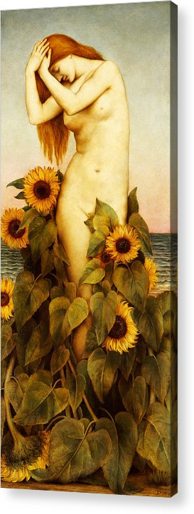 Sunflower Acrylic Print featuring the painting Clytie by Evelyn De Morgan