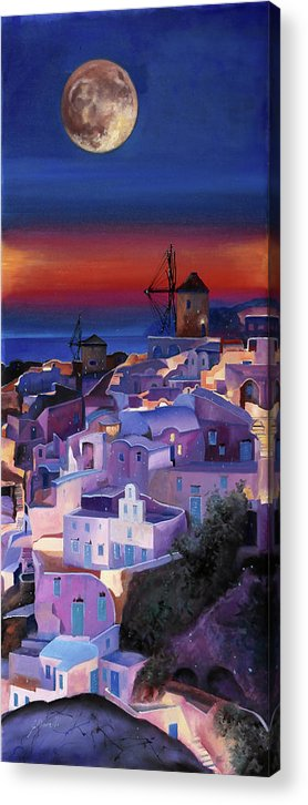 Moon Acrylic Print featuring the painting Crepuscolo Tra I Mulini by Guido Borelli