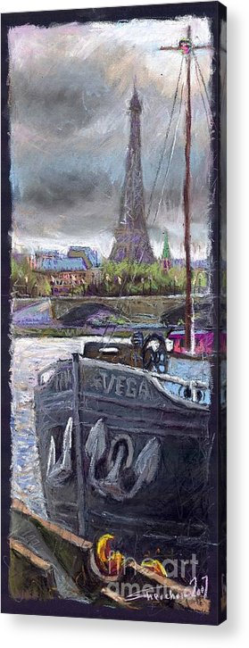 Pastel Acrylic Print featuring the painting Paris Pont Alexandre IIi by Yuriy Shevchuk