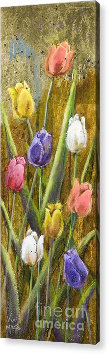 Splash Acrylic Print featuring the painting Splashy Tulips II With Gold Leaf By Vic Mastis by Vic Mastis