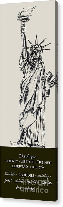 4th Of July Acrylic Print featuring the drawing Statue Of Liberty New York by Ginette Callaway