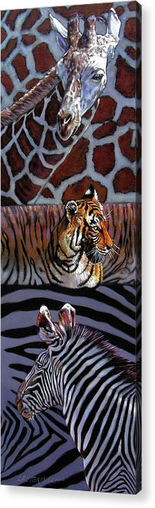 Animals Acrylic Print featuring the painting Designs For Defense And Offense by John Lautermilch