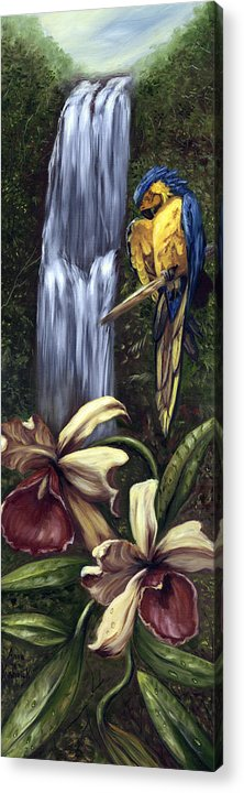 Birds Acrylic Print featuring the painting Guardian Of The Falls by Anne Kushnick