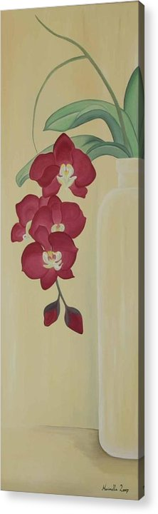 Marinella Owens Acrylic Print featuring the painting Pink Orchide In A Vase by Marinella Owens