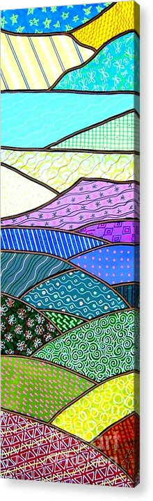 Mountain Acrylic Print featuring the painting Quilted Mountain by Jim Harris