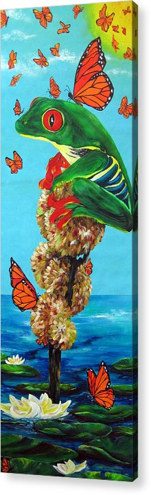 Frogs Acrylic Print featuring the painting Return Of The Monarchs by Cheryl Ehlers