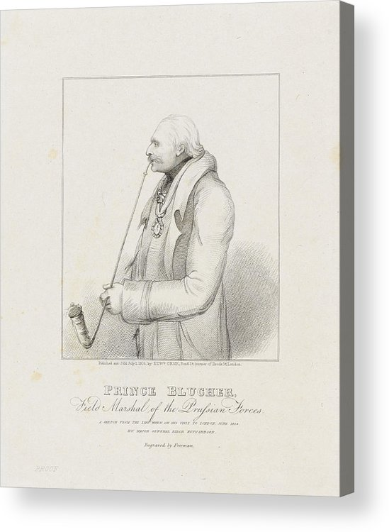 Prince Blucher Acrylic Print featuring the drawing Prince Blucher by Samuel Freeman