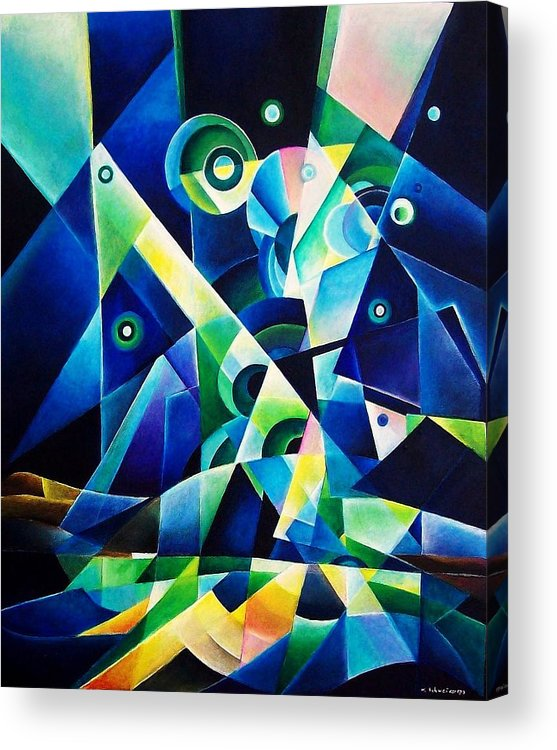 Gates Acrylics Abstract Acrylic Print featuring the painting The Gates by Wolfgang Schweizer