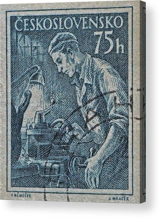 1954 Acrylic Print featuring the photograph 1954 Czechoslovakian Lathe Operator Stamp by Bill Owen