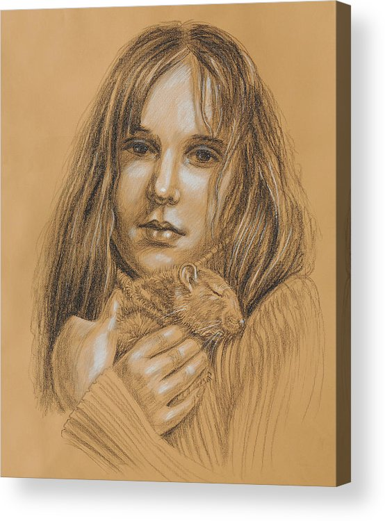 Girl Acrylic Print featuring the drawing A Girl With The Pet by Irina Sztukowski