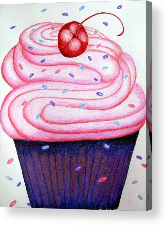 Cake Acrylic Print featuring the drawing Big Cupcake by Kori Vincent