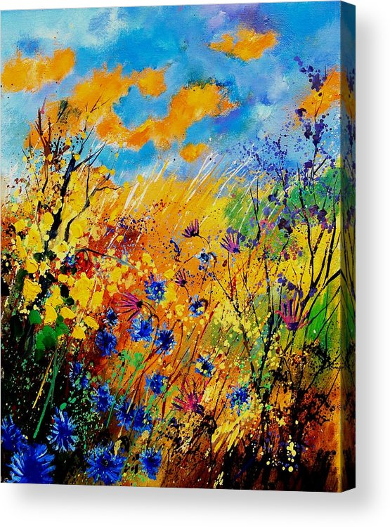 Poppies Acrylic Print featuring the painting Blue Cornflowers 450408 by Pol Ledent
