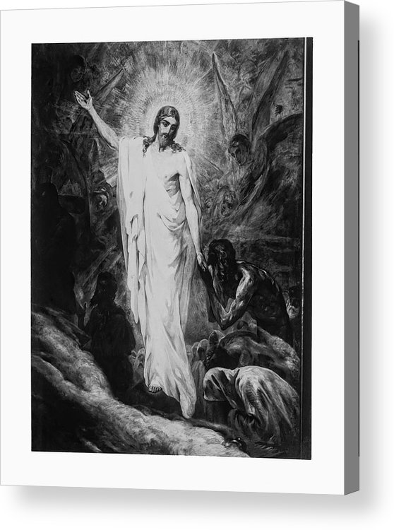 Jesus Acrylic Print featuring the photograph Christ Preaching To The Spirits In Prison C. 1910 by Daniel Hagerman