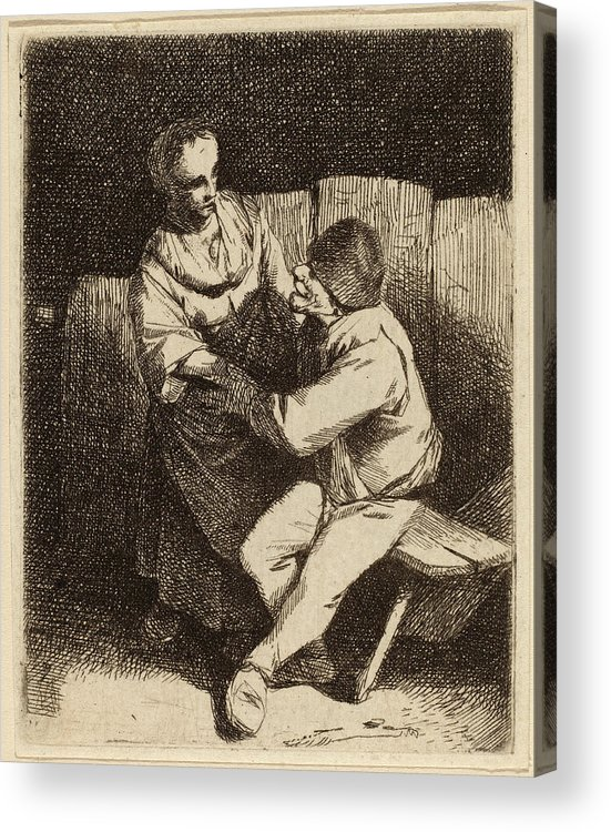 Cornelis Acrylic Print featuring the drawing Cornelis Bega Dutch, 1631-1632 - 1664, The Refused Caress by Quint Lox