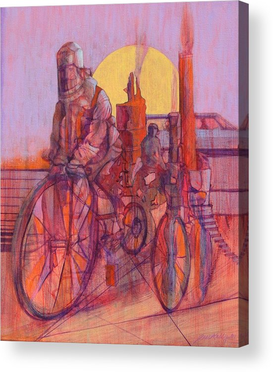 Surreal Figures On Bicycles And Machines Acrylic Print featuring the painting Fahrenheit 451 by J W Kelly
