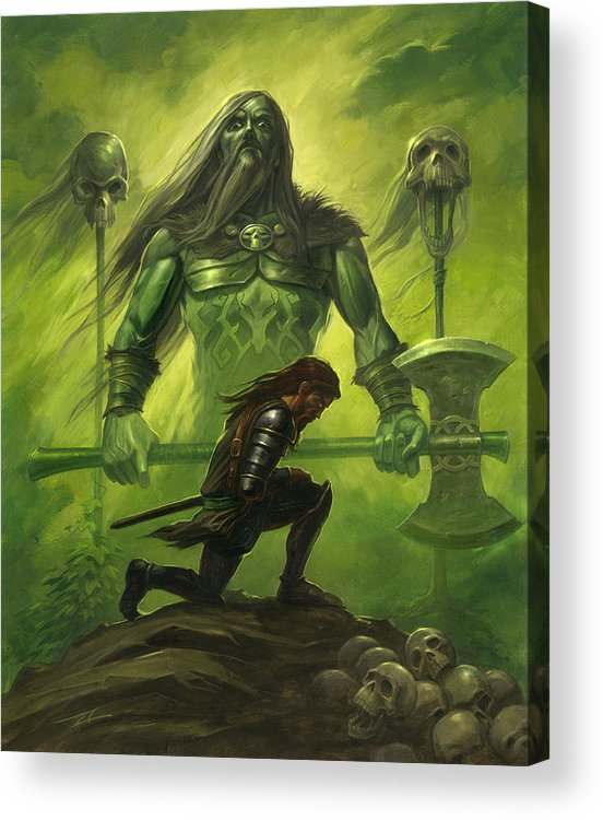 22cd16be Warrior Acrylic Print featuring the painting Gawain And The Green Knight by  Alan Lathwell
